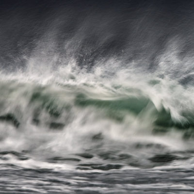 Closeup of a wave on a stormy day in the Outer Hebrides, inspired by the BBC radio 4 shipping forecast